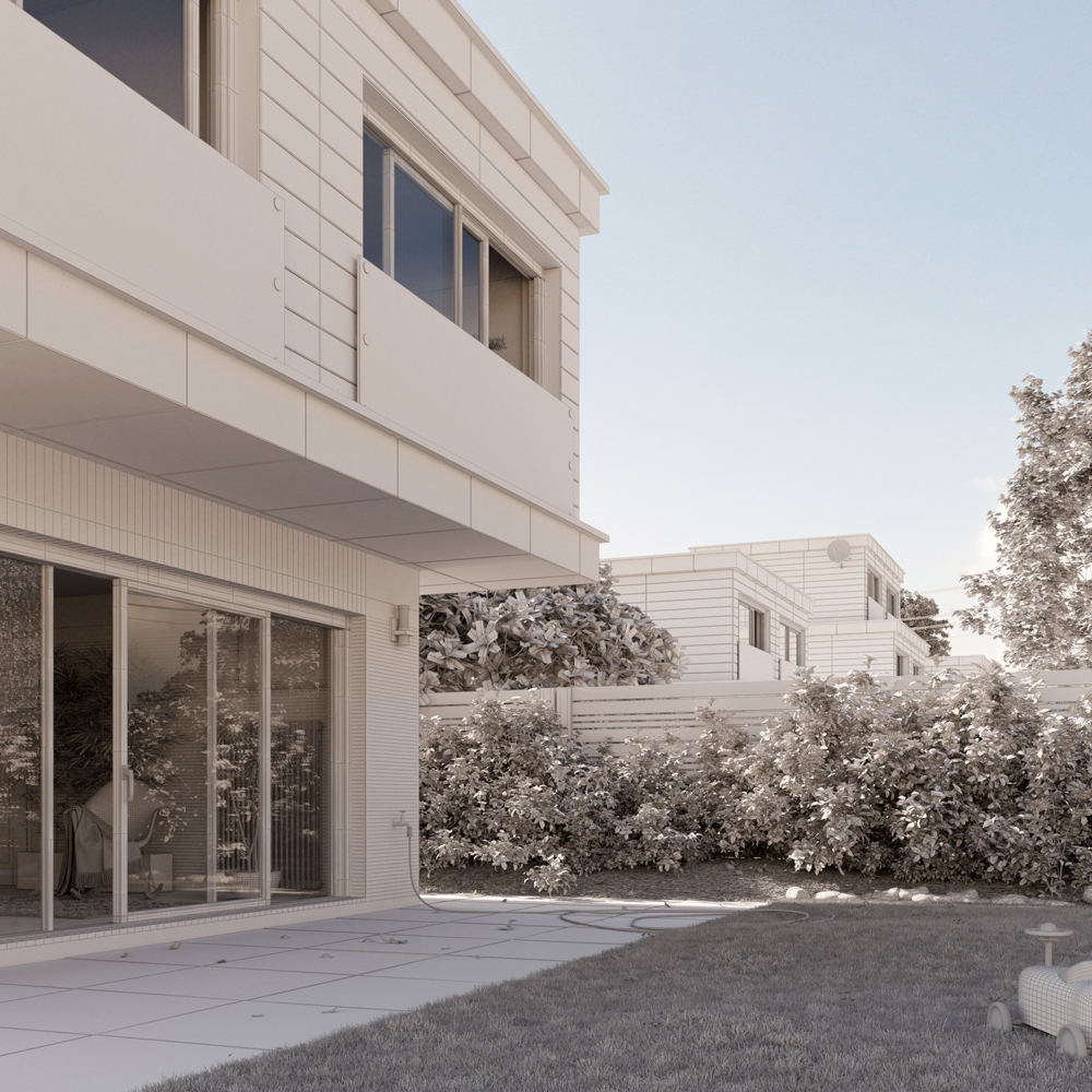 Contemporary Family Homes. Interior and Exterior. Photoreal Architectural Visualisation 3D Rendering