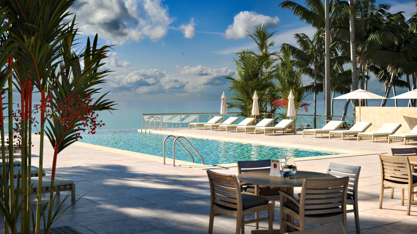 Best Hotels Pool Deck : Luxury hotel pool deck with tropical sea views. Photoreal ...