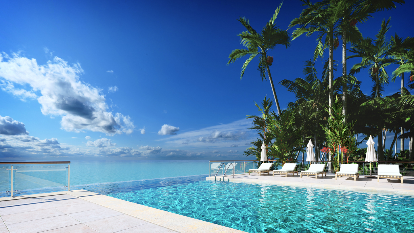 A luxury hotel pool deck with tropical sea views for Hotel luxury quotes