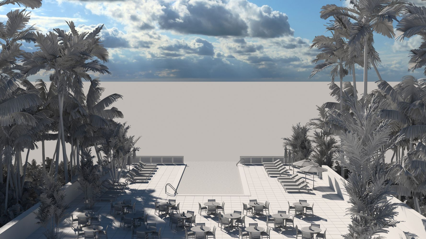 Luxury hotel pool deck with tropical sea views. Photoreal Architectural Visualisation 3D Render