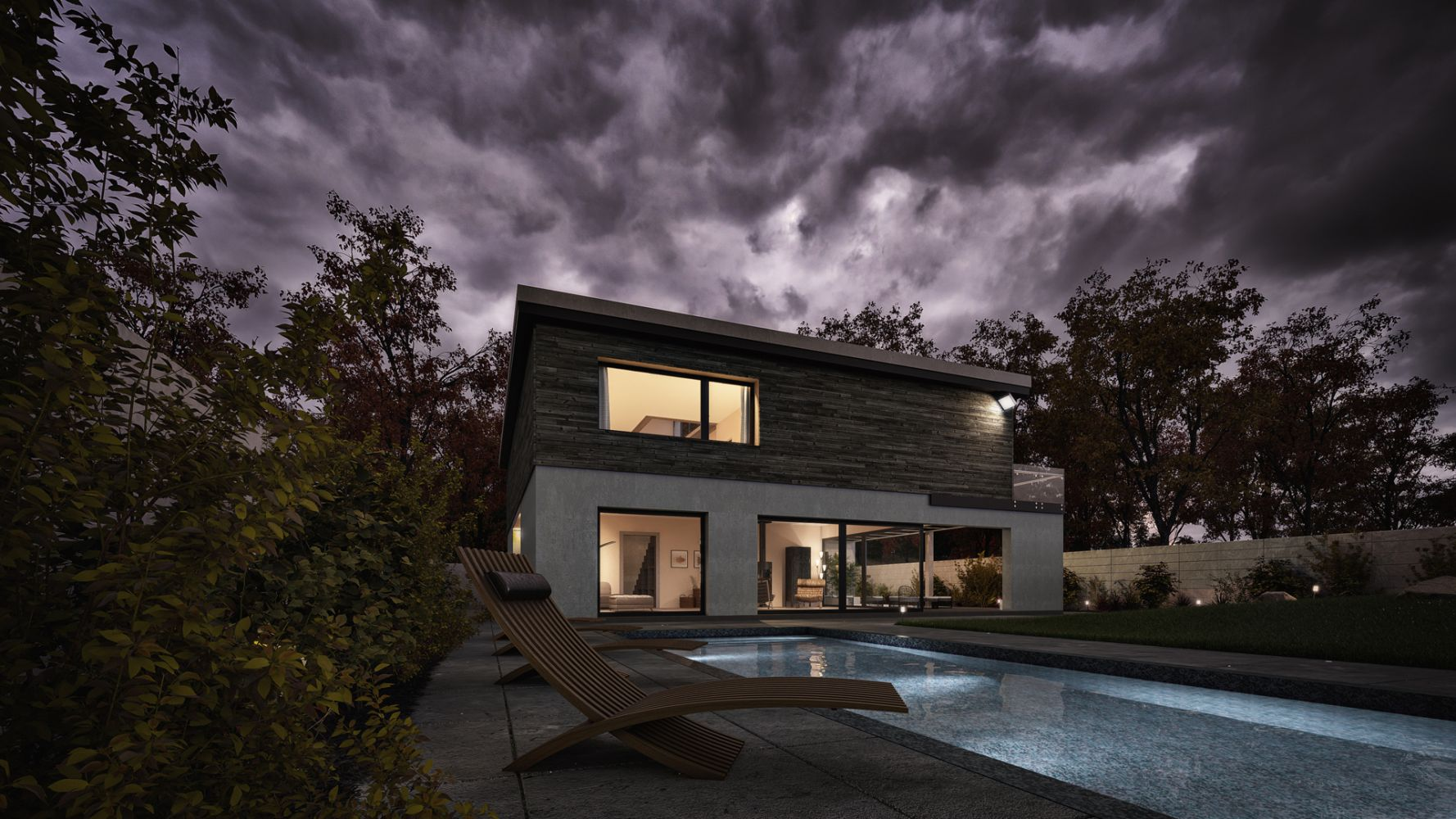 Modern pool house and garden landscaping. Photoreal Architectural Visualisation 3D Renders.