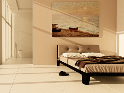 architectural interior visualisation of modern bedroom and bathroom