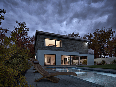 Modern pool house and garden. Photoreal Architectural Visualisation Images