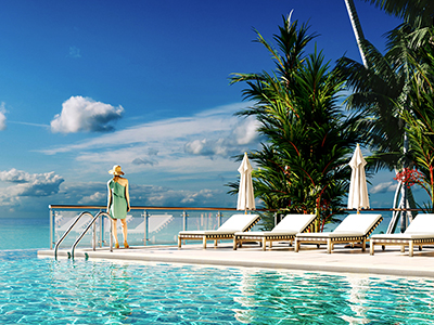 Luxury hotel pool deck with tropical sea views. Photoreal Architectural Visualisation Images